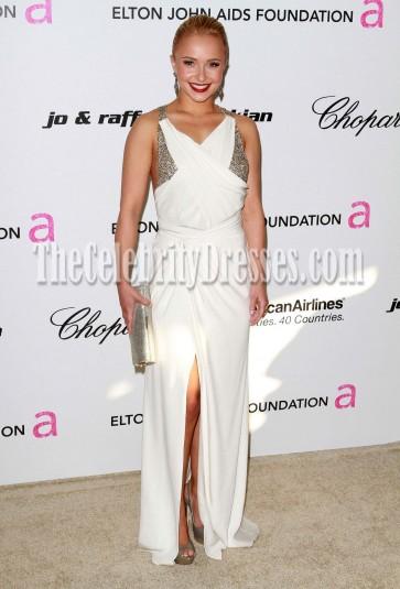 Hayden Panettiere White Chiffon Evening Prom Dress 2011 Oscars