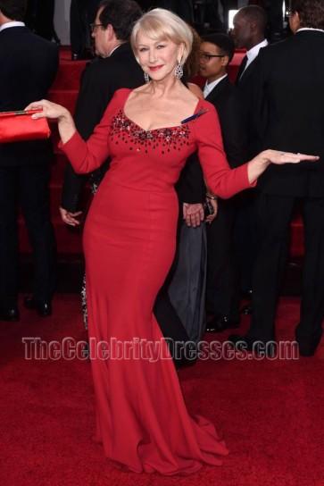Helen Mirren 2015 Golden Globe Awards Red Beaded Dress With Long Sleeves