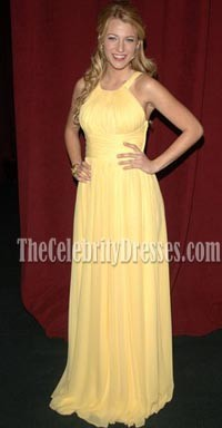 Blake Lively Yellow Chiffon Evening Bridesmaid Dresses Gossip Girl Fashion Dress