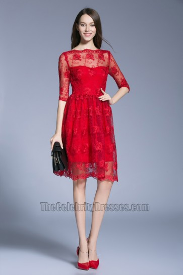 New Short Mini Lace Half sleeve Dress Bride Wedding Prom Gown 2