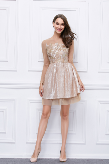 Short Mini A-Line Sequined Long Sleeve Homecoming Party Dress TCDBF302