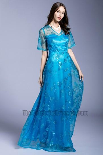 Women's Short Sleeve Evening Dress Lace Sequin Mothers Prom Dress  1