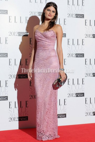 Isabeli Fontana Pink Lace Prom Dress 2012 Elle Style Awards Celebrity Red Carpet