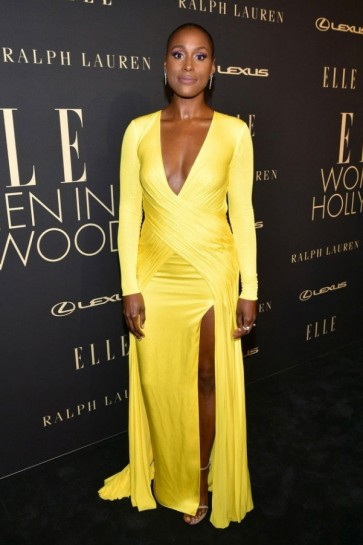 Issa Rae Plunging V-neck Yellow Evening Dress 2019 Elle Women in Hollywood celebration