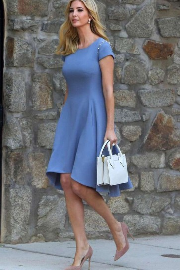Ivanka Trump A-line Knee Length Short Sleeves Cocktail Dress 2019