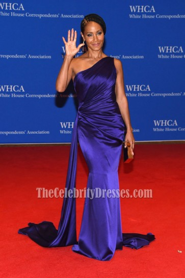 Jada Pinkett Smith Purple One Shoulder Evening Prom Dress 2016 White House Correspondents' Association Dinner 1
