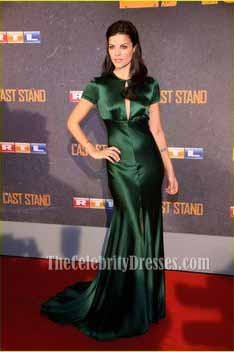Jaimie Alexander Satin Bias Cut Gown Dark Green Formal Evening Dress TheCelebrityDresses