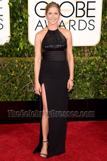 Jennifer Aniston 2015 Golden Globe Awards Black Sequinned Red Carpet Dress