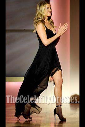 Jennifer Aniston Black Chiffon Prom Gown Formal Evening Dresses 2011 Women Of The Year Awards