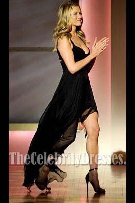 Jennifer Aniston Black Chiffon Prom Gown Formal Evening Dresses 2011 Women Of The Year Awards