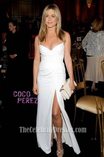 Jennifer Aniston White Prom Dress 40th AFI Life Achievement Award honoring Shirley MacLaine
