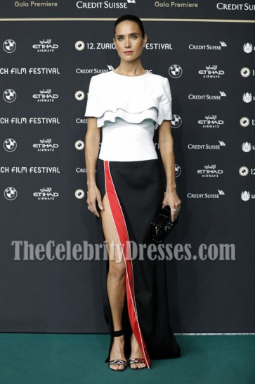 Jennifer Connelly White And Black Evening Prom Gown 12th Zurich Film Festival  1