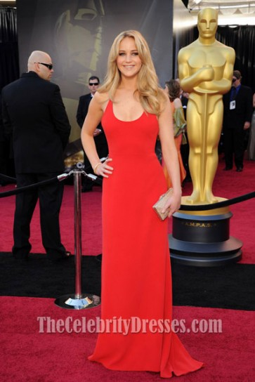 Jennifer Lawrence Red Prom Dress 2011 Oscar Awards Red Carpet Gown