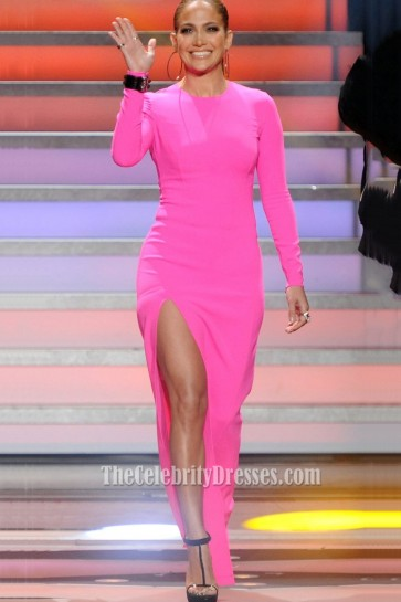 Jennifer Lopez American Idol Pink Long Sleeved High Slit Evening Prom 1