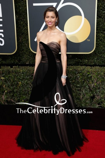 Jessica Biel Black Strapless Sweetheart Evening Gown 2018 Golden Globe Awards Red Carpet