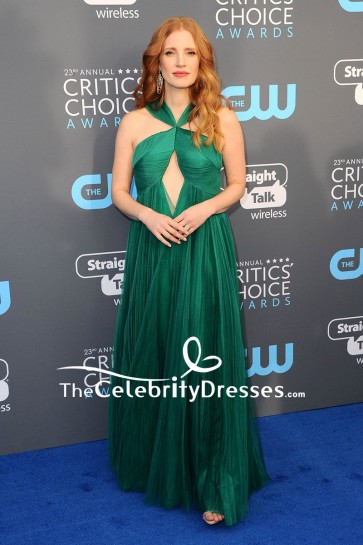 Jessica Chastain Green Cut Out A-line Evening Prom Dress 2018 Critics' Choice Awards Red Carpet