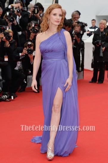 Jessica Chastain One Shoulder Prom Dress 'Foxcatcher' premiere