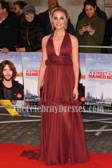 "EmJoanne Froggatt Halter Ruffle Evening Prom Gown UK Premiere of ""A Street Cat Named Bob"""