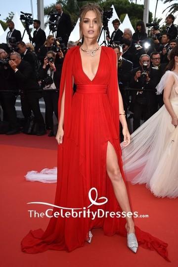 Josephine Skriver Plunging Neck Red Chiffon Slit Evening Dress 2019 Cannes Film Festival