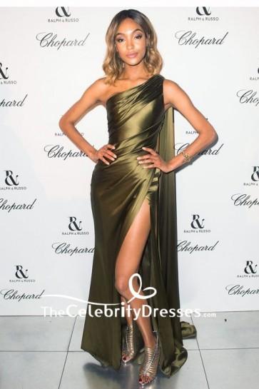 Jourdan Dunn Olive Green One-Shoulder High-Slit Formal Dress