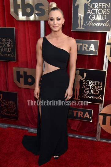 Kaley Cuoco Black One Shoulder Evening Formal Dress 22nd Screen Actors Guild Awards 4