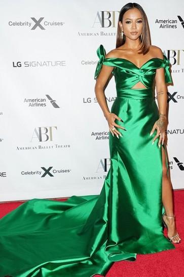 Karrueche Tran Green Cutout Off Shoulder Dress 2019 Fall Gala