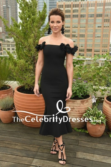 Kate Beckinsale Black Mermaid Off-the-shoulder Cocktail Dress