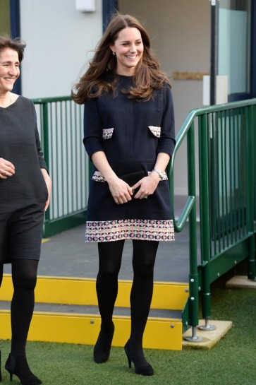 Kate Middleton Fashion Navy Blue Dress With Sleeves