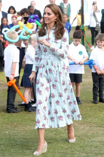 Kate Middleton Floral Midi Dress With Sleeves