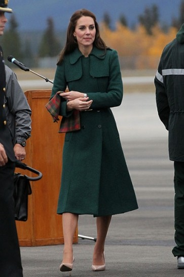 Kate Middleton Double Breasted Buttons Dark Green Coat
