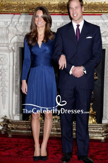 Kate-Middleton Iconic Navy Blue Engagement Dress For Sale