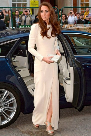 Kate Middleton Ivory Prom Dress With Long Sleeves