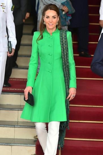 Kate Middleton Mint Coat On Pakistan Tour