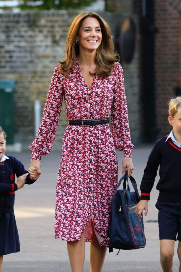 Kate Middleton Print Casual Dress With Sleeves