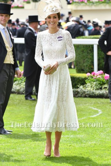 Kate Middleton White Lace Dress With Long Sleeves Party Dress Royal Ascot 2017