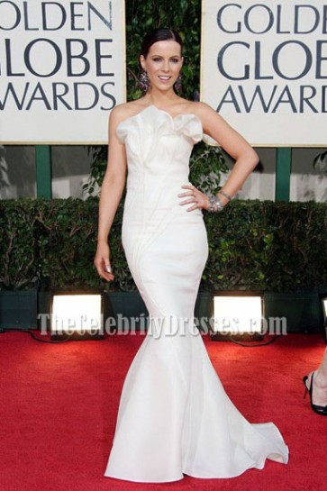 Kate Beckinsale White Strapless Mermaid Prom Gown Formal Dress 2009 Golden Globe Awards Red Carpet