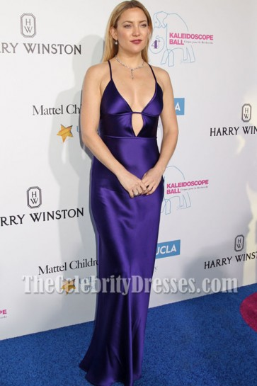 Kate Hudson Purple Spaghetti Strap Slip Evening Prom Gown Kaleidoscope Ball 2016