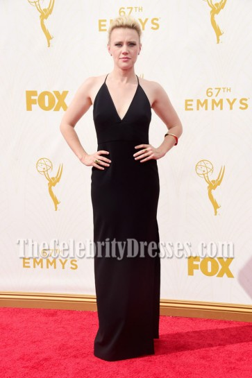Kate McKinnon Black Deep V-neck Evening Prom Gown 67th Annual Emmy Awards 4
