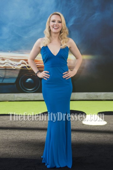 Kate McKinnon Blue Deep V-neck Spagetti Strap Evening Dress Sony Pictures Ghostbusters