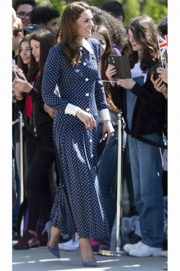 Kate Middleton A-line Printed Dress With Long Sleeves