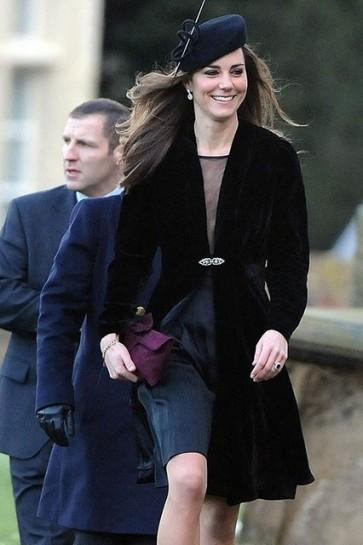Kate Middleton Black Coat with Diamond Buckle