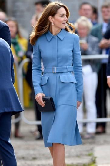 Kate Middleton Blue Belt Coat