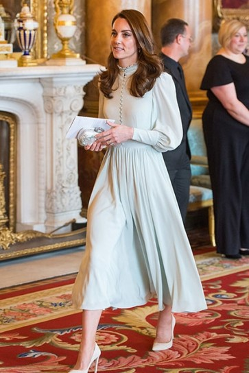 Kate Middleton High Neck Midi Dress With Sleeves 50th Anniversary Of Prince of Wales' investiture