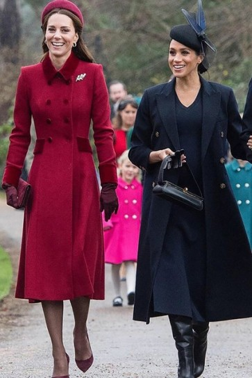 Kate Middleton Red A-line Coat With Long Sleeves 2019