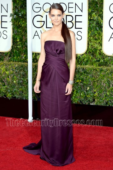 Katie Holmes 2015 Golden Globe Awards Purple Red Carpet Evening Dress