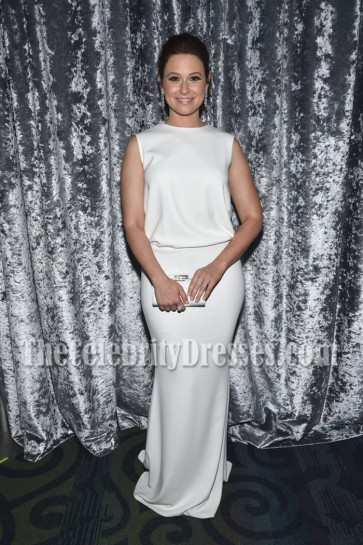 Katie Lowes White Sleeveless Evening Prom Gown Yahoo News White House Correspondents Dinner  3
