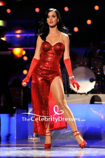 Katy Perry Red Sequin Strapless Thigh-high Slit Prom Cocktal Dress VH1 Divas Salute the Troops