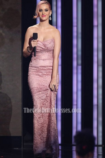 Katy Perry Pink Strapless Lace Prom Dress Evening Gown 2012 Grammy Nominations Concert