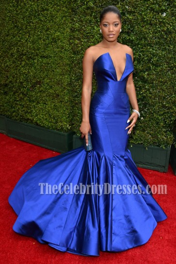Keke Palmer Royal Blue Formal Dress Emmys 2014 Red Carpet