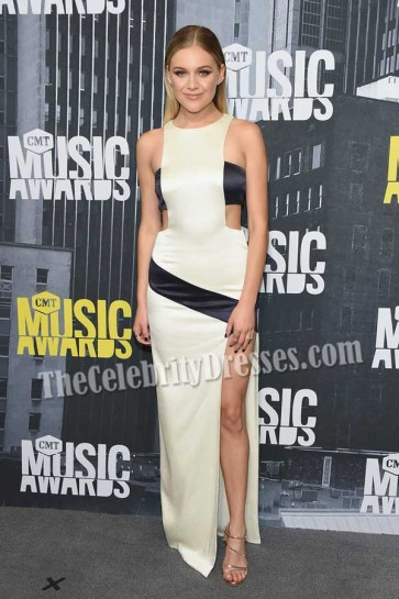Kelsea Ballerini Black And Ivory Cut Out Thigh-high Slit Gown 2017 CMT Music Awards